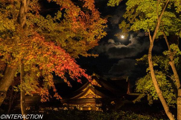 北野天満宮と紅葉とお月さま